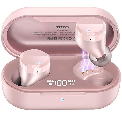 TOZO T12 Auricolari Wireless Bluetooth Cuffie touch control e custodia di ricarica Display a LED digitale IPX8 Auricolari impermeabili Microfono incorporato Bassi profondi per lo sport Oro Rosa