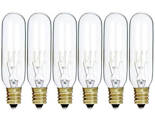 (Pack of 6) 15T6/CL - 15 Watt T6 Clear Tubular - 120V - Candelabra (E12) Base - Incandescent Light Bulb