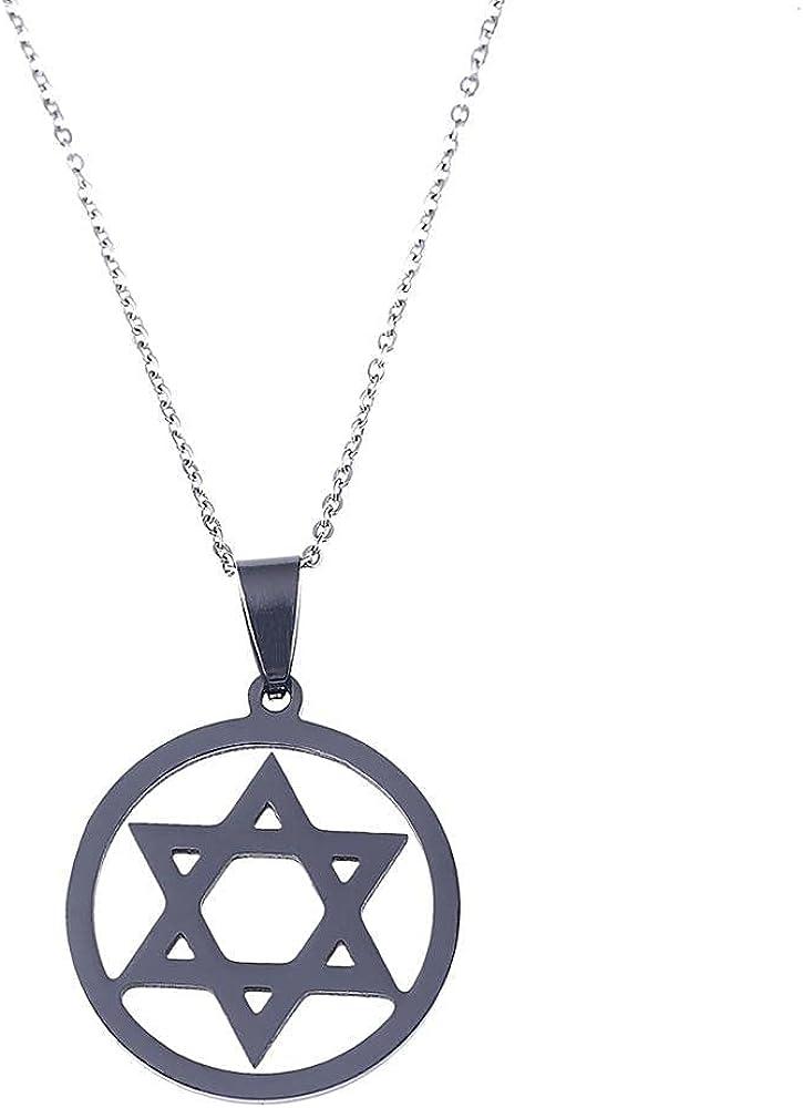 Magen Hexagram Pendant Necklace Jewelry Black Color Islam Arabic Star Chain Jewelry