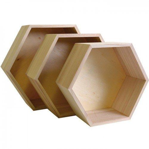 Artemio 14001892 Set mit 3 Regalfächern, sechseckig, zum Dekorieren, Holz, Beige, 30 x 26,5 x 10 cm