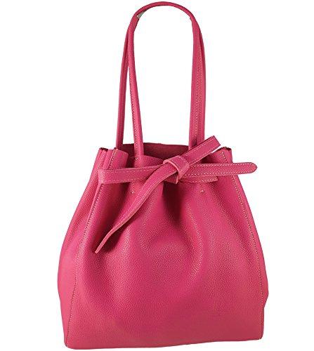 Freyday Damen Echtleder Shopper mit Innentasche in vielen Farben Schultertasche Henkeltasche HS01 (Pink)