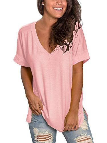 Women Pink Tops Plus Size Short Sleeve T Shirt Oversized Trendy Clothes Summer XXL