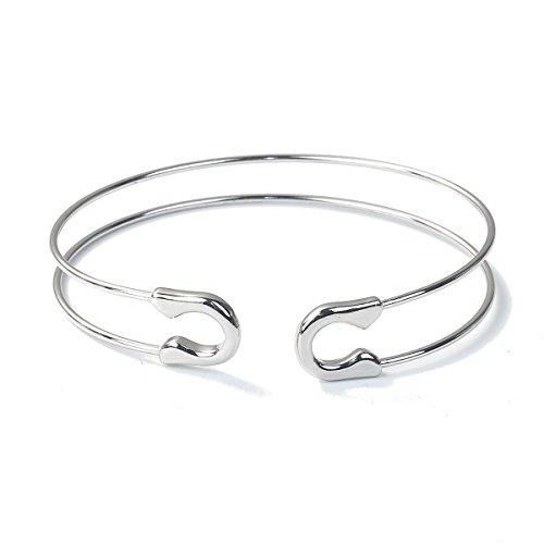 Miniblings Sicherheitsnadel Armband Bürobedarf Armreif Büro Nadel Silber - Modeschmuck Handmade - Damen Mädchen Bettelarmband