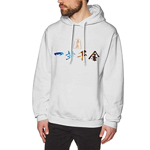Chelsse Sudadera Sports Men's Adult Sweatshirts Hoodies Pullover One Step Thousand Money Long Sleeve Loose Crew Neck Drawstring Top T Shirt White