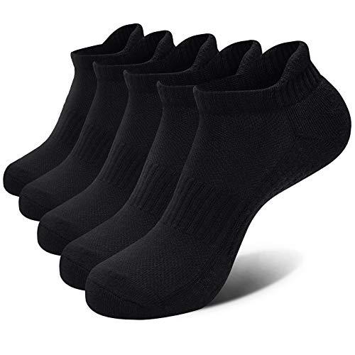 VoJoPi Sneaker Socken Herren, 5 Paar Gepolsterte Sportsocken mit Baumwoll, Atmungsaktiv Laufsocken für Alltag und Freizeit - Fitness, Laufen, Joggen, Größe 42-47(Schwarz)