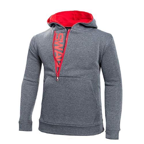 Autumn Fashion - Sudadera de cachemira para hombre, diseño de letras, con cremallera lateral, para hombre Gris gris oscuro M
