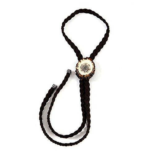 ALMBOCK Trachtenbinder Herren - braune Trachten Krawatte - Trachten Kragenschmuck - echter Hirschhorn Trachtenband Schieber - Trachtenkrawatten