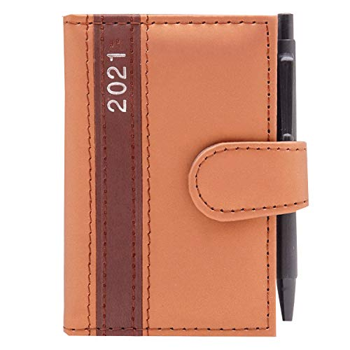 2021 Taschenkalender mit Stift A7 Business Terminplaner Organizer Timer Kalender (Gold)