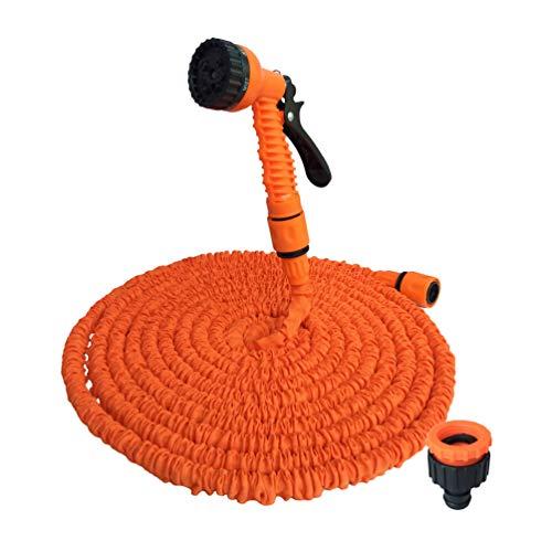 Baijiaye 7,5m - 45m Flexibele Slang Uitrekbare Irrigatie 7 in 1 Spray Snelle, Kan worden gebruikt voor het wassen van auto's, het baden van huisdieren en het besproeien van tuinen Oranje 75FT/22.5m