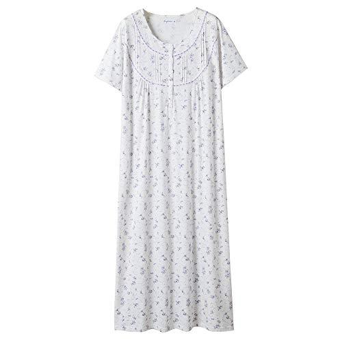 Keyocean Women's Nightgowns 100% Cotton Lace Trim Short Sleeve Solid Long Sleepwear for Women (XXL, Purple Floral)