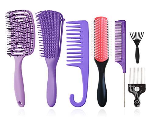Juego de8cepillos para desenredar, cepillo de champú de cerdas de nailon con cojín de9filas/cepillo de pelo con ventilación/peines de masaje/dar forma definir rizos,cabello húmedo/seco, afro (