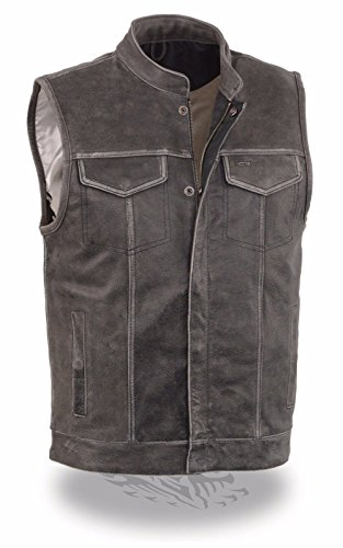 Milwaukee Leather Men's Distressed Grey Motorcycle Son Of Anarchy Style Leather Vest W/Gun Pockets