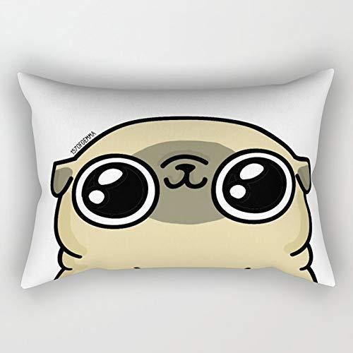 Yuanmeiju Mochi The Pug Loves You Rectangular Funda de Almohada Fundas de colchón 20x30 Inch