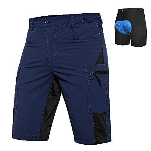 Vzteek MTB Hose Herren Fahrradhose mit Gepolstert, MTB Shorts Herren Mountainbike Hose, Atmungsaktiv, Schnelltrocknende (Navy, L, l)
