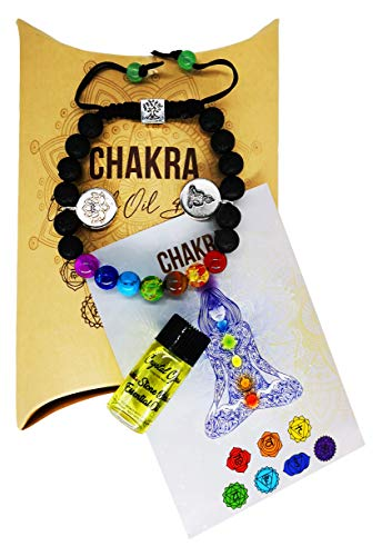 Deluxe Chakra 7 Stone Essential Oil Bracelet with Chakra Oil. 100% Natural Genuine Crystals. Black Diffuser Lava Beads. Ready to Wear & Use. Chakra Balancing and Healing Jewellery. Each Made by Hand.