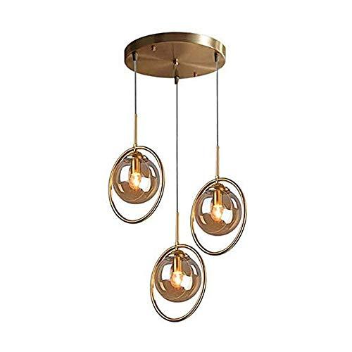 COCNI Lámpara Colgante de Cristal de Metal Vintage Industrial 3 Llamas Anillo de latón Altura Ajustable Luz de Techo Lámpara de Bola Lámpara de Sala de Estar Mesa E27 Lámpara Colgante
