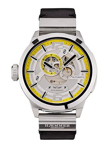 HæMMER Great Liberty Skeleton herenhorloge van roestvrij staal, gelimiteerd herenhorloge met kalfslederarmband, luxe horloge met hoogglanswijzers in zilver - zwart