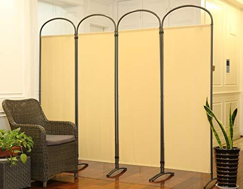 Angel Living Paravent 4tlg 225X185CM Bogenparavent Sichtschutz Balkonbespannung Balkonsichtschutz Raumteiler Trennwand,Beige
