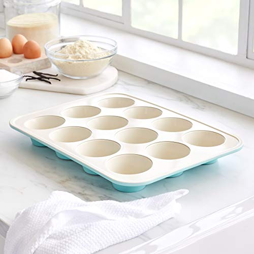GreenLife Bakeware Healthy Ceramic Nonstick, Muffin Pan, 12 Cup, Turquoise