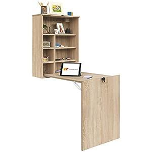 COMIFORT Escritorio Colgante - Mesa de Pared Plegable con Librería de Estructura Firme, Moderna y Minimalista con Baldas Espaciosas y de Gran Capacidad, Color Roble