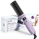 Damusy Easy carry straightener combs,Oblate comb, Multi-purpose curling & straightening, Hair styling with LCD & Temperature Adjustment function, Including gloves, Hair clips & Comb