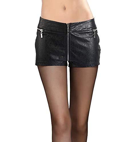 EverNight Sexy zwart gepreegd lakleer imitatieleer shorts dames gedrukt skinny lederen broek