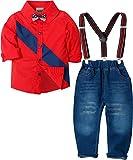 Zoerea Baby Jungen Bekleidungssets Hosen & Shirt Gentleman Hosenträger Krawatte Jeans Kleinkind Outfits Rot,Größe 130