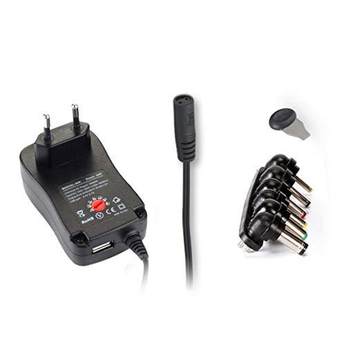 SeniorMar Fuente de alimentación Ajustable de 3-12 V con Puerto USB Cargador Adaptador portátil de CA a CC Adaptador de Corriente de conmutación Universal de 30 W