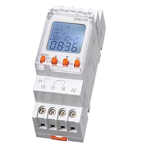 B+G E-Tech RD-TPW2 digitale 2 Kanal Zeitschaltuhr für Hutschiene zum Einbau im Schaltschrank - LCD Display - Wochenzeitschaltuhr mit 90 Programmplätzen - Wochen-/ Tagesprogramm Timer und Impuls