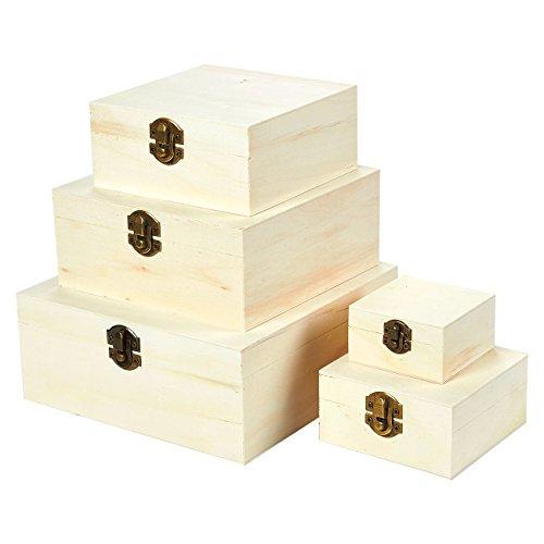 Cajas de madera con tapa abatible, caja de nido de madera (5 piezas)