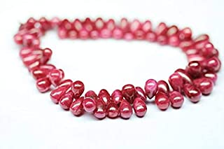 """Jewel Beads Natural Beautiful jewellery Natural Longido Untreated Ruby Smooth Tear Drop Briolette Gemstone Loose Craft Beads Strand 8"""" 11mm 8mmCode:- BB-1318"""