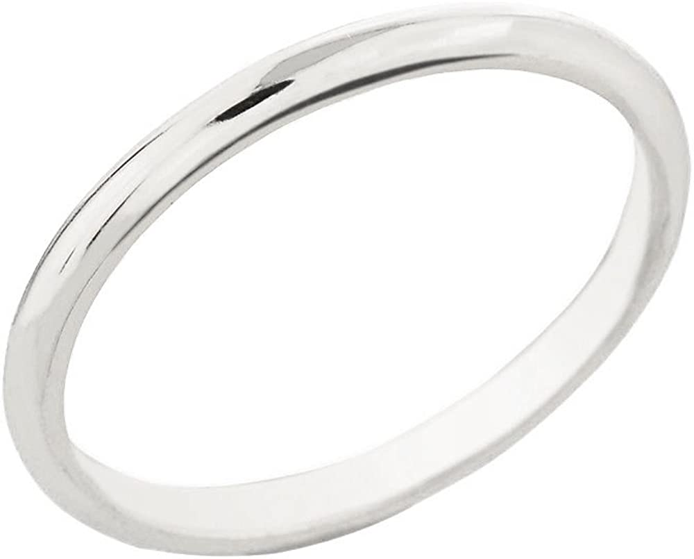 Dainty 10k White Gold Comfort-Fit Band Traditional 2mm Wedding Ring for Women