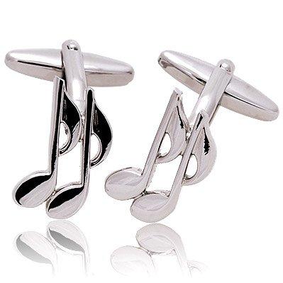 Diseño de nota musical para hombres Gemelos Gemelos chapados en plata - notas enganchadas en caja de regalo de