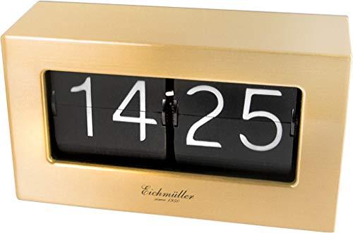 Eichmüller since 1950 Retro Flip Uhr - Tischuhr mit solidem Metallgehäuse - Messing
