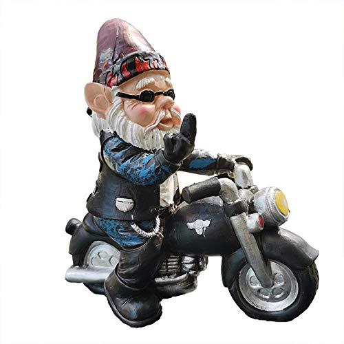 LGYKUMEG Gartenzwerg Statue Naughty Deko Figur Biker mit Lederjacke GNOME Lustige Gartenzwerge Ornamente Yard Decor Weihnachten Dress Up Lawn,7 * 12.5 * 13.5cm