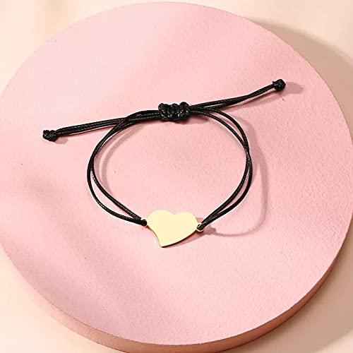 QiuYueShangMao Pulsera de corazón de Amor grabada para Mujer, Ajustable, Hecho a Mano, Cadena de la Suerte, Deseo de Amistad para niñas, Pulsera Personalizada, joyería Pulsera de la Amistad