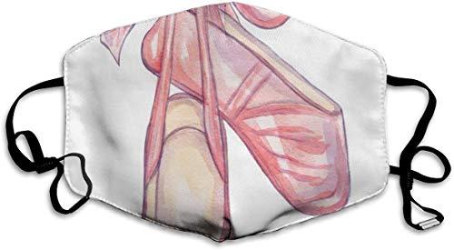 Zapatos de bailarina de ballet rosa máscara de media cara máscaras de algodón resistente al viento anti reutilizable cómodo pasamontañas transpirable