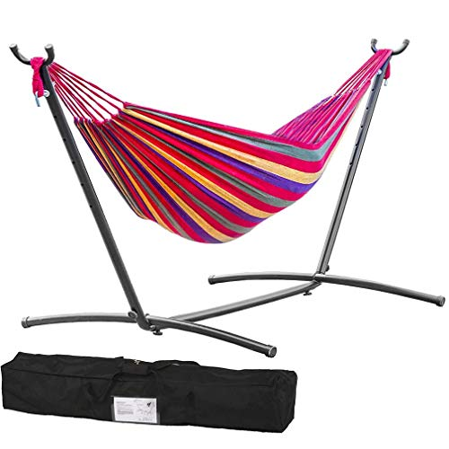 TechFaith Double Hammock Two Person Adjustable Hammock Bed with Space Saving Steel Stand Includes Portable Carrying Case, Easy Set Up (Caribbean)