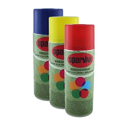 SparVar Kreidespray mit Überkopfdüse, SET aus je 1x ROT, GELB und BLAU, je 400 ml