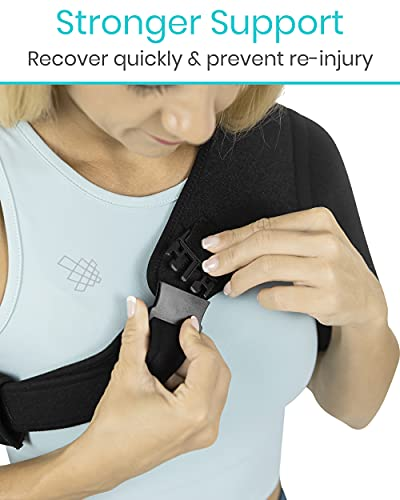 Vive Shoulder Brace - Rotator Cuff Compression Support - Men, Women, Left, Right Arm Injury Prevention Stabilizer Sleeve Wrap - Immobilizer for Dislocated AC Joint, Labrum Tear Pain (Black)