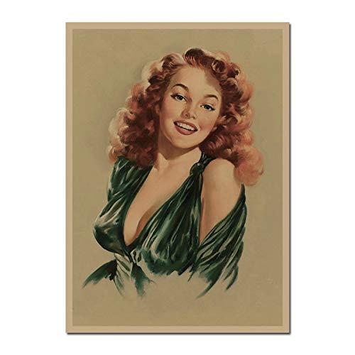 UIOLK Póster Artístico Impreso en Lienzo Pin-up Girl, póster Retro para niña, decoración para Sala de Estar, decoración