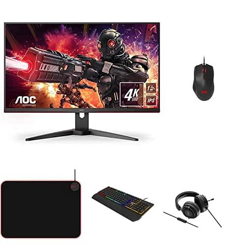 AOC Monitor Gaming U28G2AE- 28' UHD, 60Hz, 1ms, IPS, Adaptive Sync, 3840x2160, 300cd/m, HDMI 2x2.0, Displayport 1x1.4 + Ratón de Gaming + Auriculares + Teclado +...