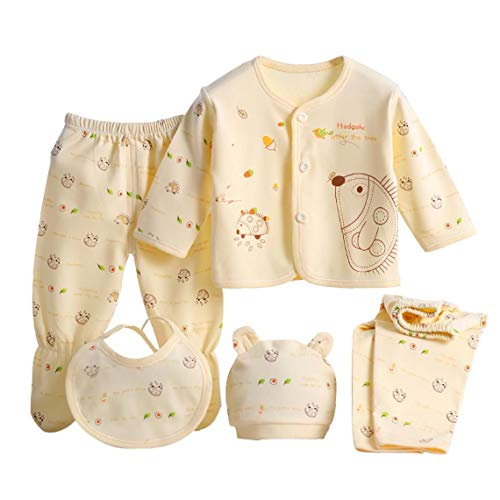 LAANCOO para Niños Primavera Verano Ropa SetBaby Ropa de Dormir Pijamas Conjunto de Ropa Interior recién Nacido Camisa Pantalón Sombrero Babero Amarillo Impreso 5PCS