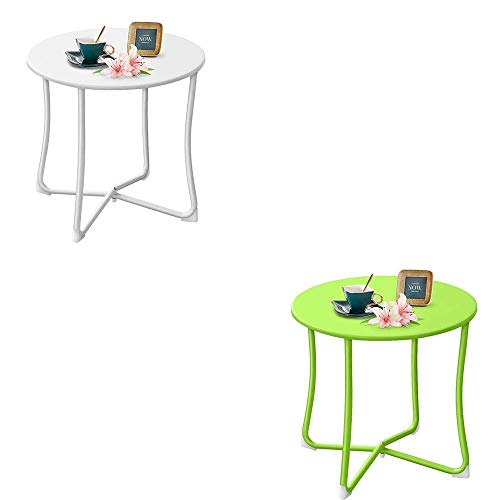 """Amagabeli Metal Patio Side Table Bundle 18"""" x 18"""" Outdoor Round Coffee Table Porch Table"""