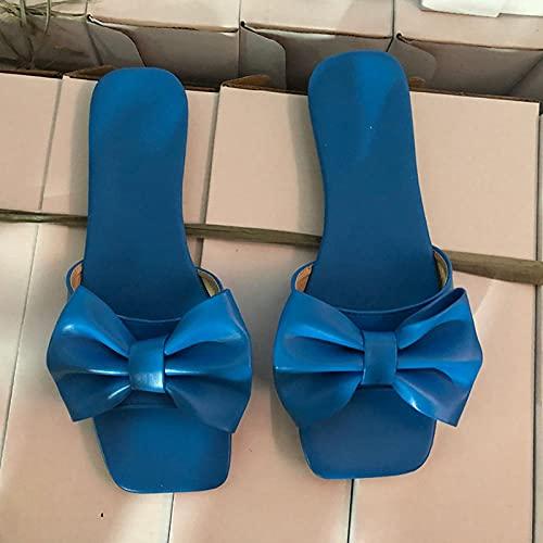 YYFF Sandalia Tipo Chancla con,Zapatillas de Playa Mariposa, Moda Plana Arena-Azul_41,Zapatillas de Casa Antideslizante