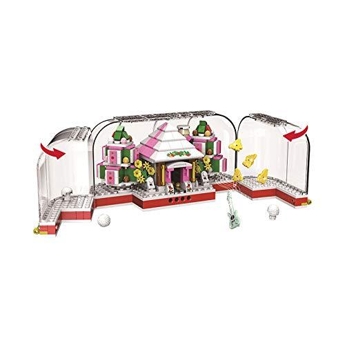 Set de Bloques de Construcción - Kits de Casas de Nieve de Cristal Rosa (411pcs) Ladrillos Rompecabezas 3D Juguetes Educativos de DIY Invierno para Adultos y Niños