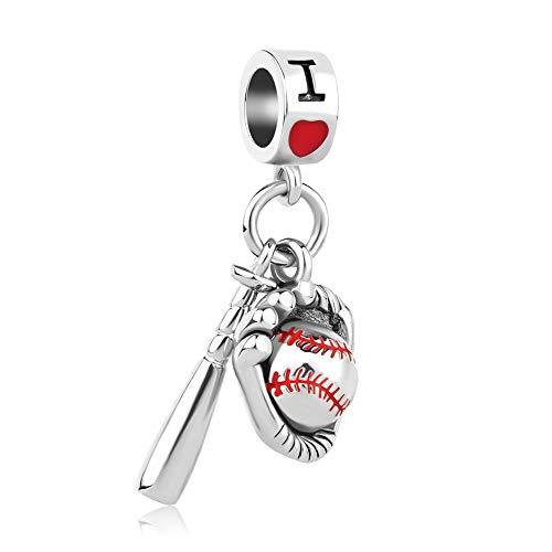 CharmSStory Baseball I Love Sports Dangle Charms Beads for Bracelets (Red Baseball)