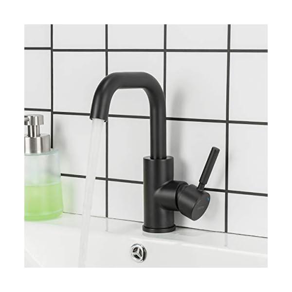 GAPPO – Grifo mezclador monomando para lavabo, con mango único, giratorio de 360 grados, de acero inoxidable, negro