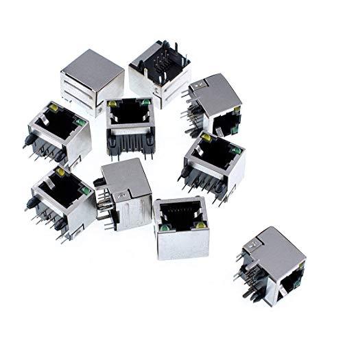 10 x RJ45 8LE PCB Steckdosen Netzbuchsen geschirmt RJ45 8P8C Licht RJ45 8LE PCB