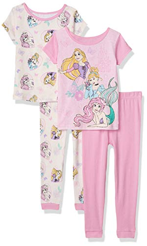 Disney Girls' Princess 4-Piece Cotton Pajama Set, Pink Power, 6